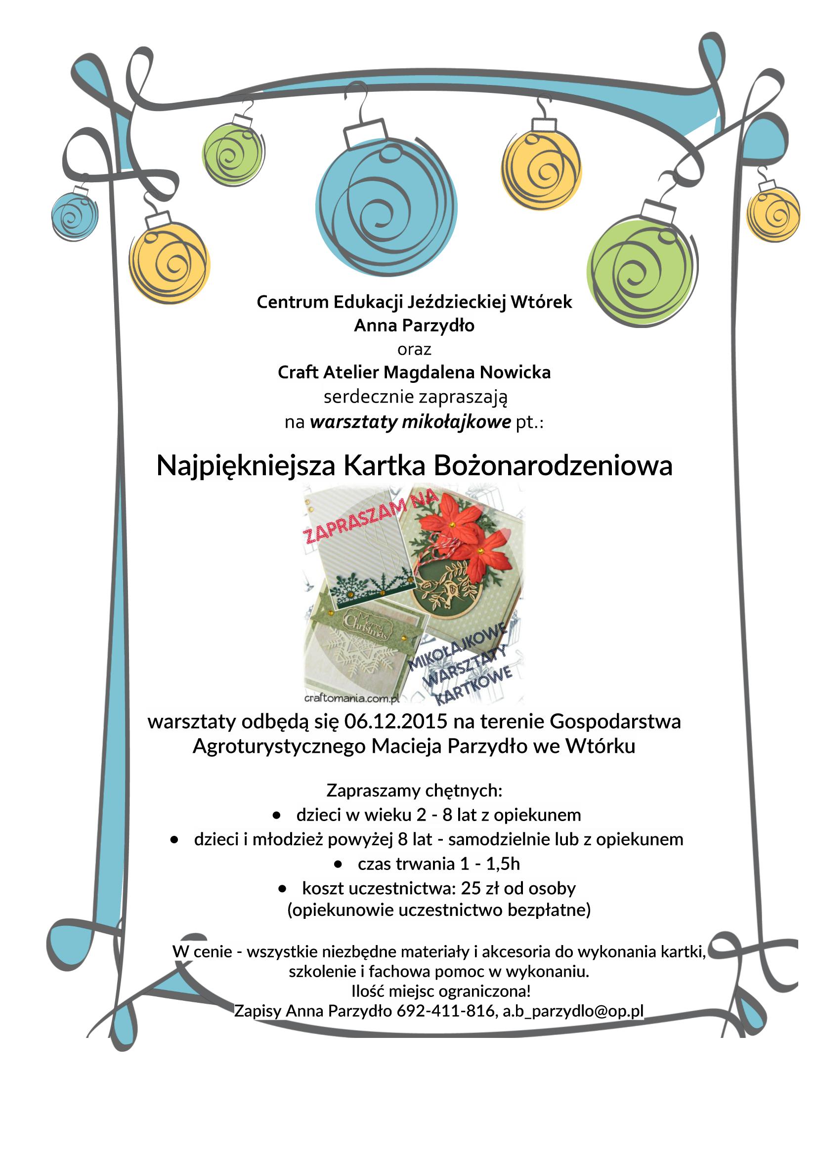 plakat warsztaty mikołajkowe zdjęcie